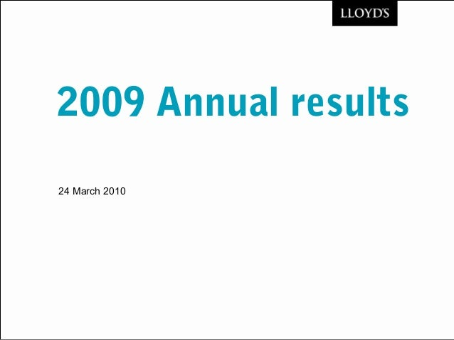 2009 Annual results 24 March 2010