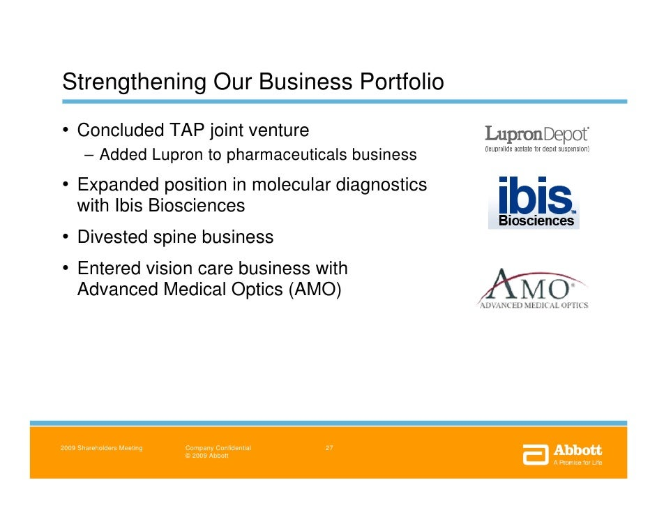 Abbott 2009 Annual Shareholders Meeting Remarks And Presentations