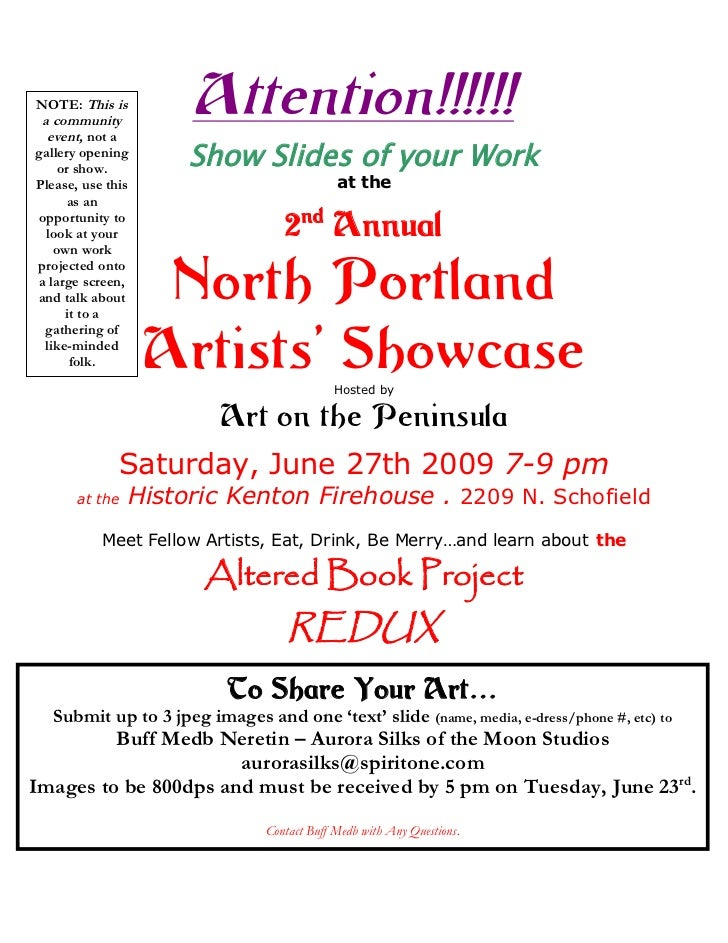 NOTE: This is a community  event, not a                      Attention!!!!!!gallery opening    or show.                   ...