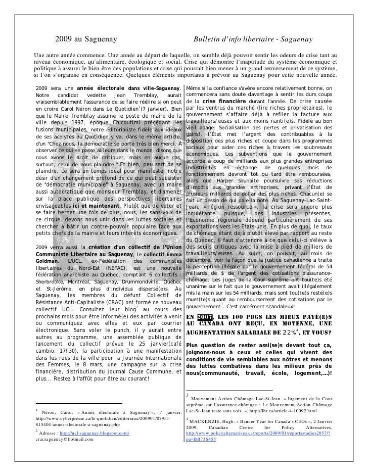 2009 au Saguenay                                                Bulletin d'info libertaire - Saguenay Une autre année comm...