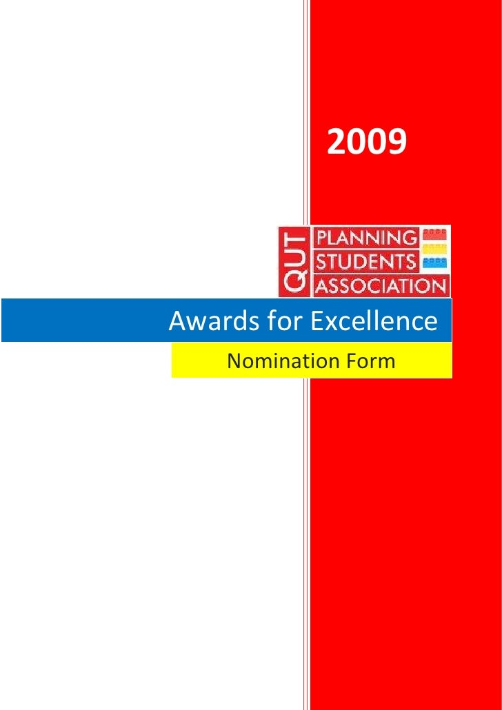 2009    Awards for Excellence     Nomination Form