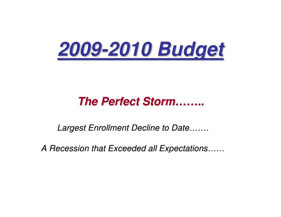 2009-2010 Budget          The Perfect Storm……..     Largest Enrollment Decline to Date…….  A Recession that Exceeded all E...