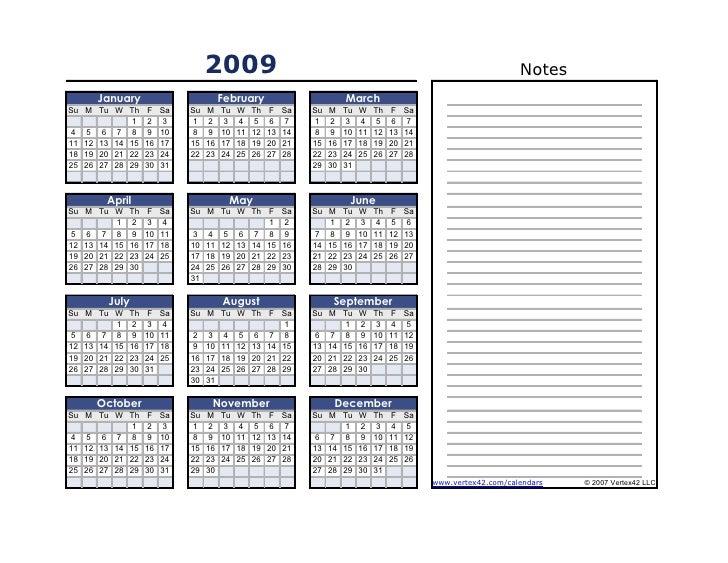 2009                                                                                 Notes      January                   ...