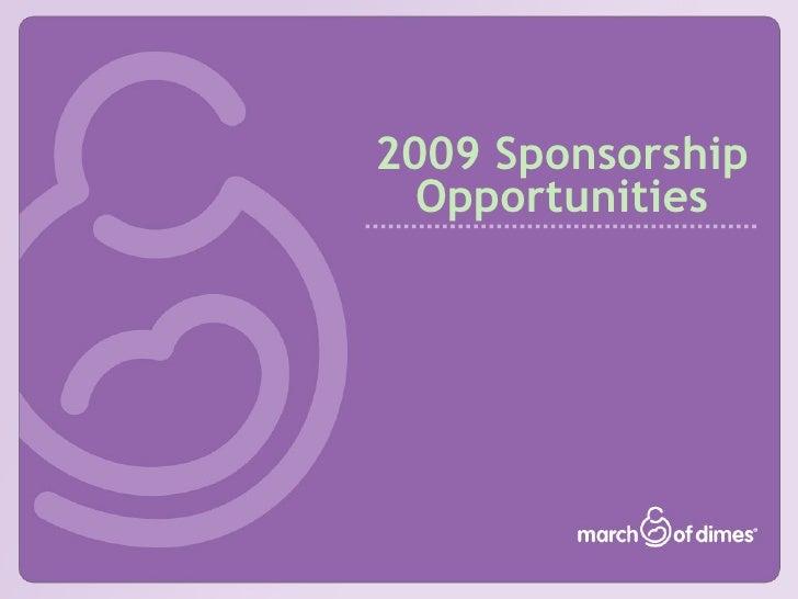2009 Sponsorship Opportunities