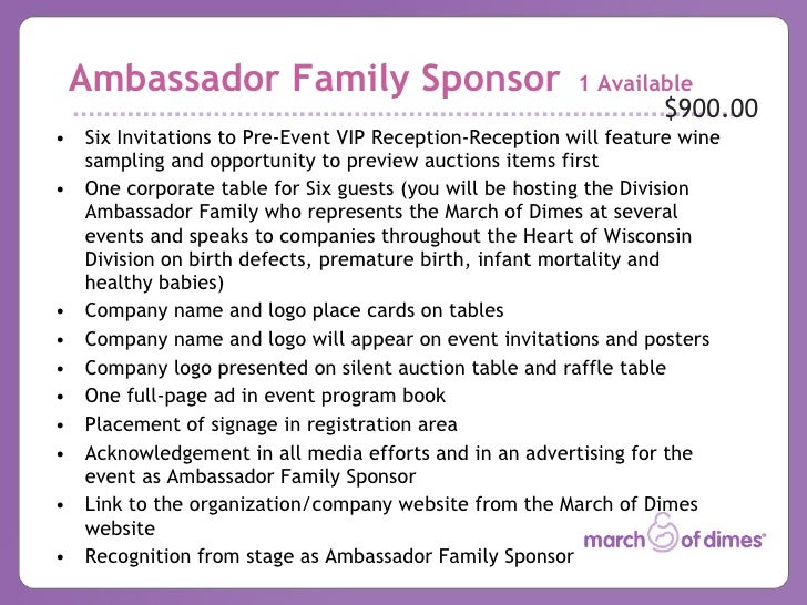 2009 Chefs Auction Sponsorship Template – Sponsorship Levels Template