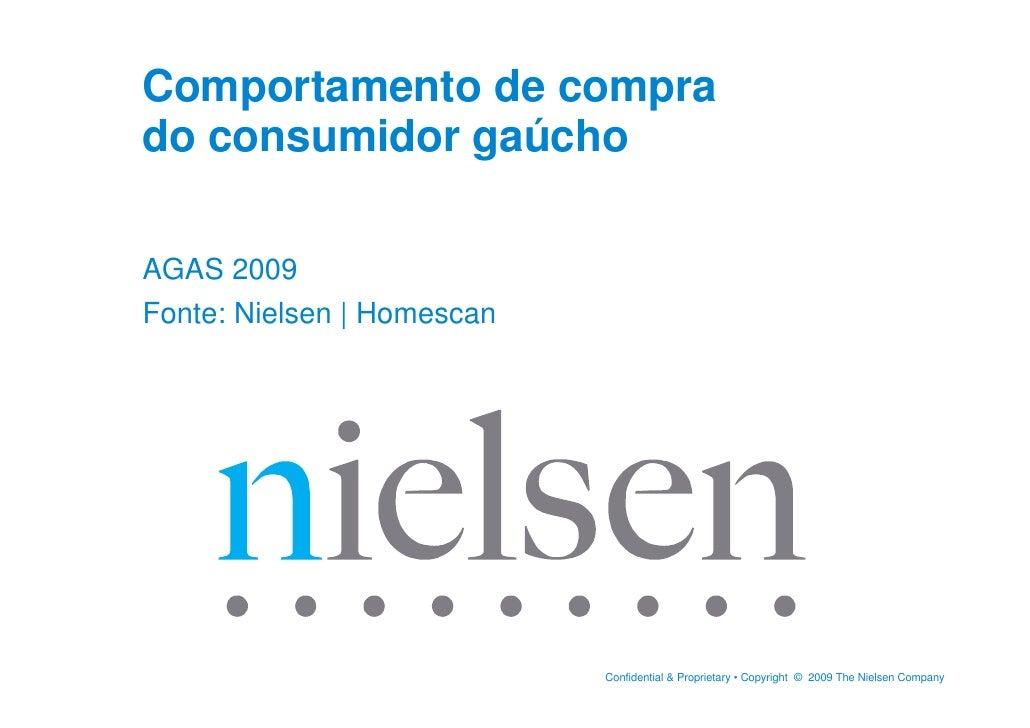 Comportamento de compra do consumidor gaúcho  AGAS 2009 Fonte: Nielsen | Homescan                                 Confiden...