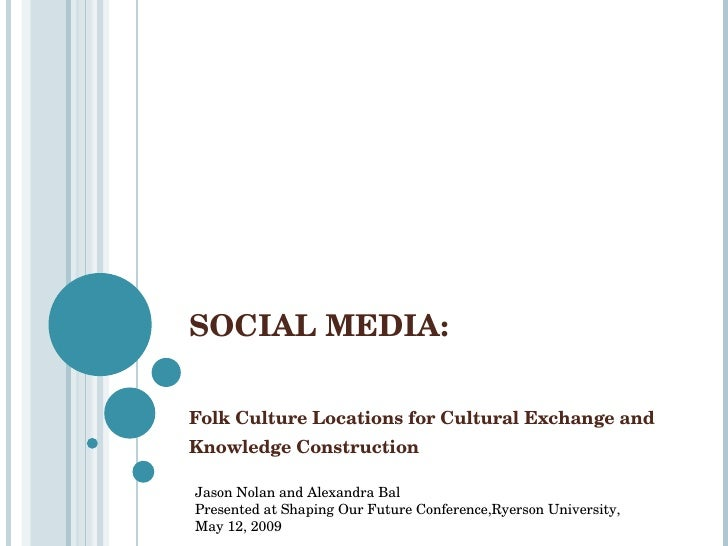 SOCIAL MEDIA:  Folk Culture Locations for Cultural Exchange and Knowledge Construction Jason Nolan and Alexandra Bal Prese...