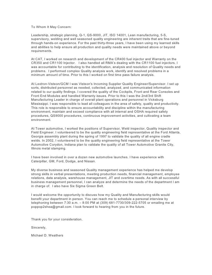 2009 Cover Letter Quality Engineer Michael Weathers