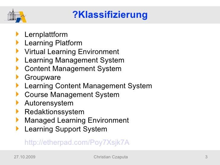 2009 Czaputa Didaktische Reflexionen Zum Einsatz Von Lernplattformen Slide 3