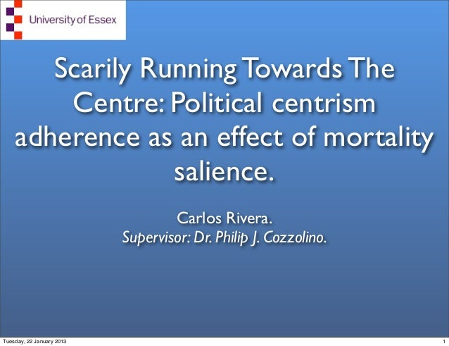 Scarily Running Towards The        Centre: Political centrism    adherence as an effect of mortality                 salie...
