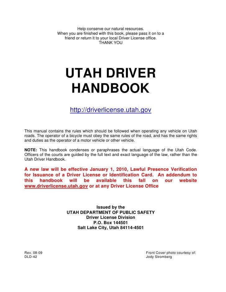 2009 dl handbookprintercopy 000 for Utah state department of motor vehicles