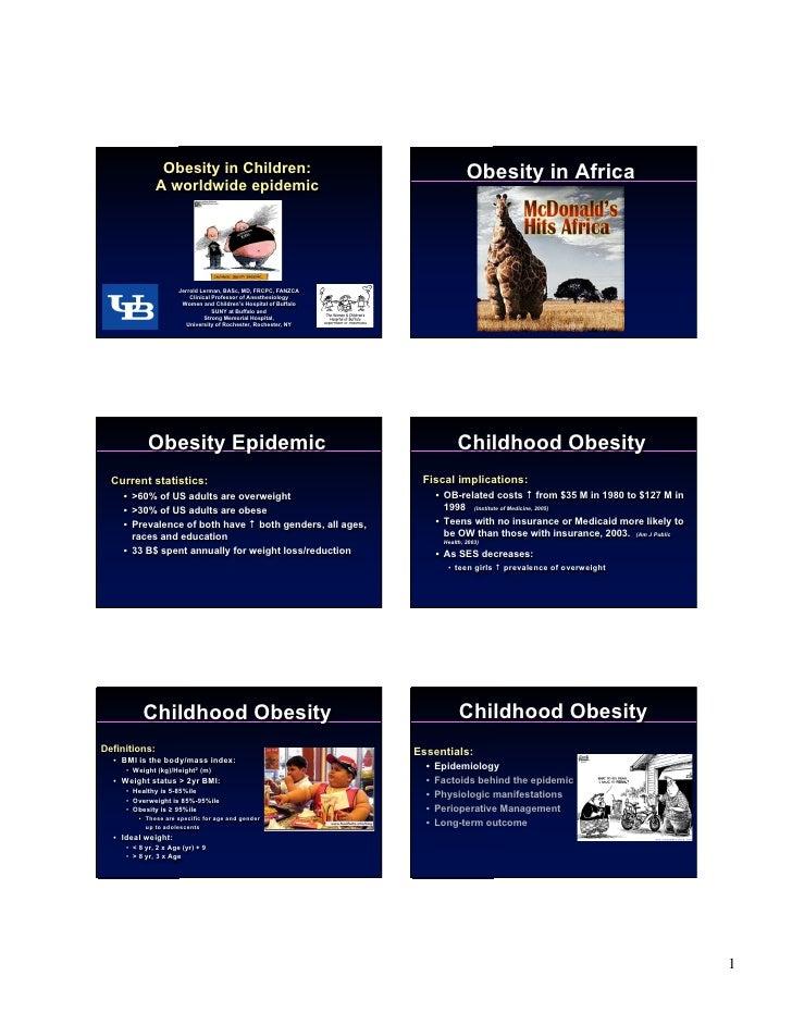 Obesity in Children:                                             Obesity in Africa                A worldwide epidemic    ...