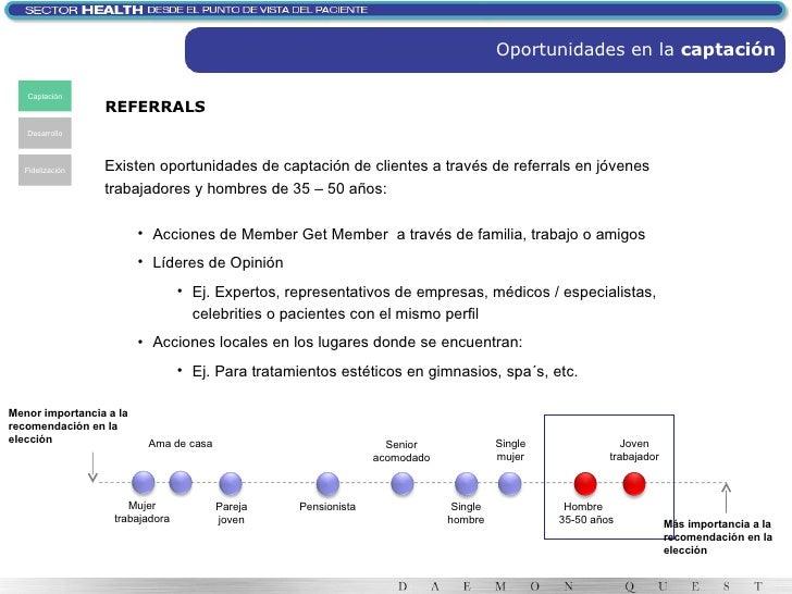 Oportunidades en la  captación Captación Desarrollo Fidelización REFERRALS Joven trabajador Hombre  35-50 años Single muje...