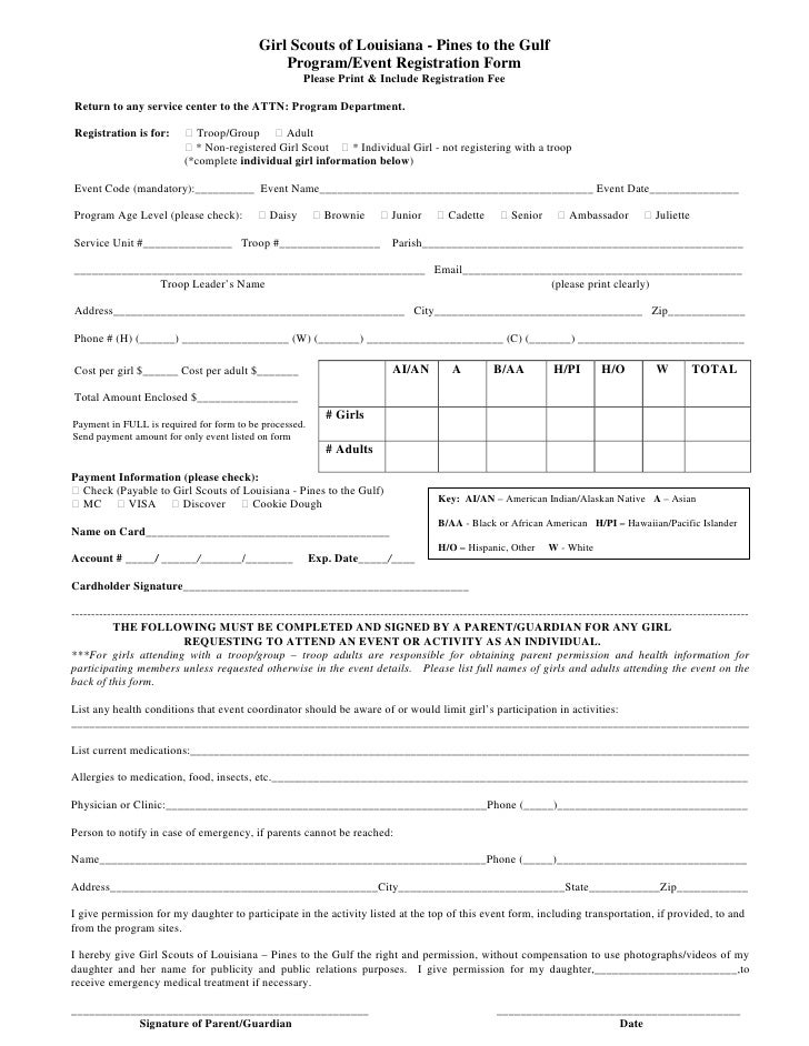 Girl Scouts of Louisiana - Pines to the Gulf                                                    Program/Event Registration...