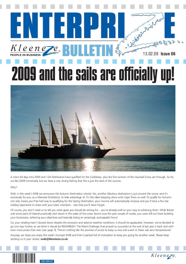 BULLETIN                                                                 13.02.09 Issue 06     2009 and the sails are offi...