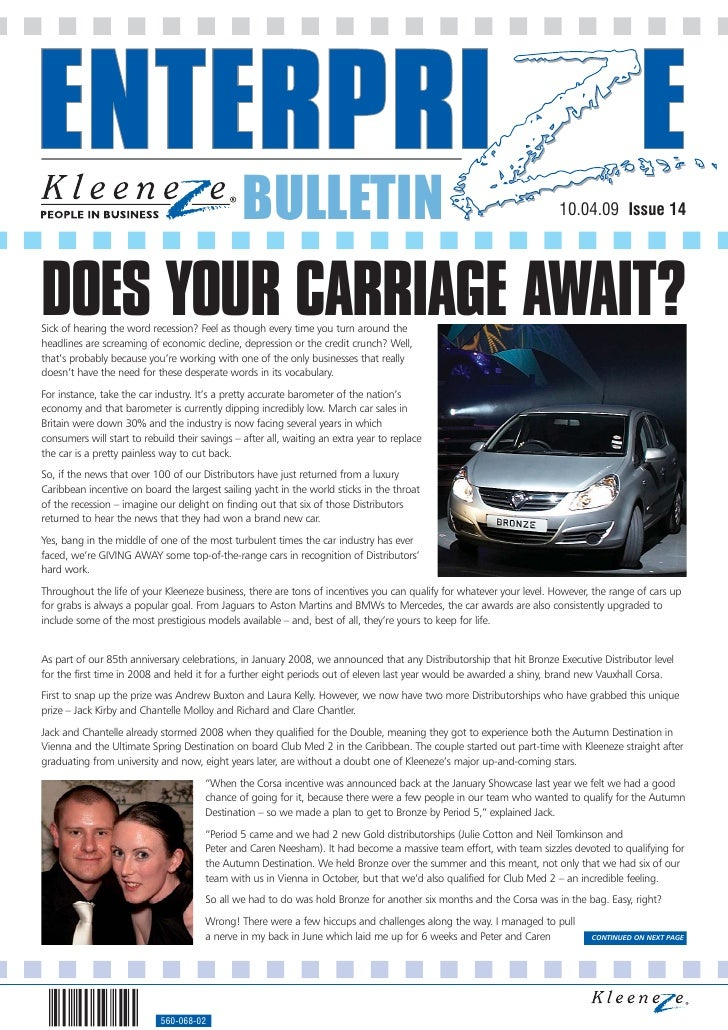BULLETIN                                                              10.04.09 Issue 14     DOES YOUR CARRIAGE AWAIT? Sick...