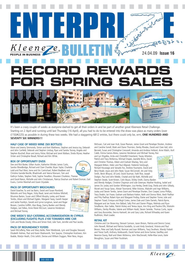 BULLETIN                                                                                   24.04.09 Issue 16    RECORD REW...