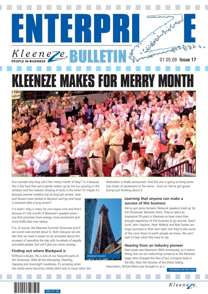BULLETIN                                                                 01.05.09 Issue 17     KLEENEZE MAKES FOR MERRY MO...