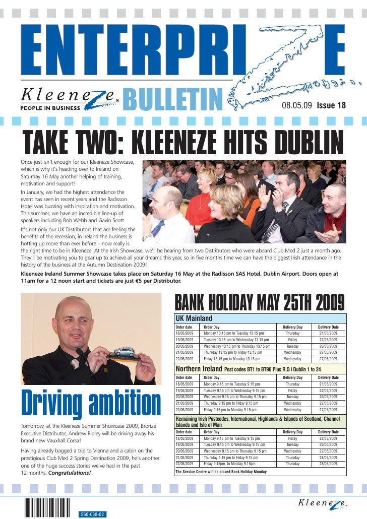 BULLETIN                                                                           08.05.09 Issue 18     TAKE TWO: KLEENEZ...