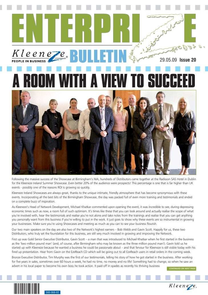 BULLETIN                                                                 29.05.09 Issue 20     A ROOM WITH A VIEW TO SUCCE...