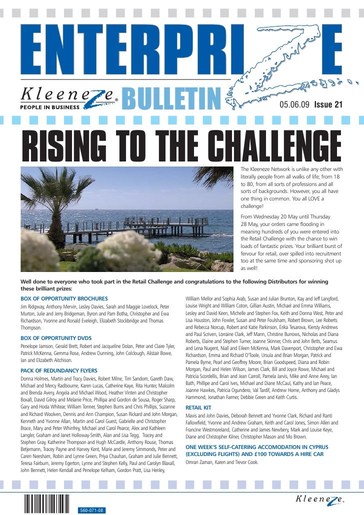 BULLETIN                                                                          05.06.09 Issue 21     RISING TO THE CHAL...