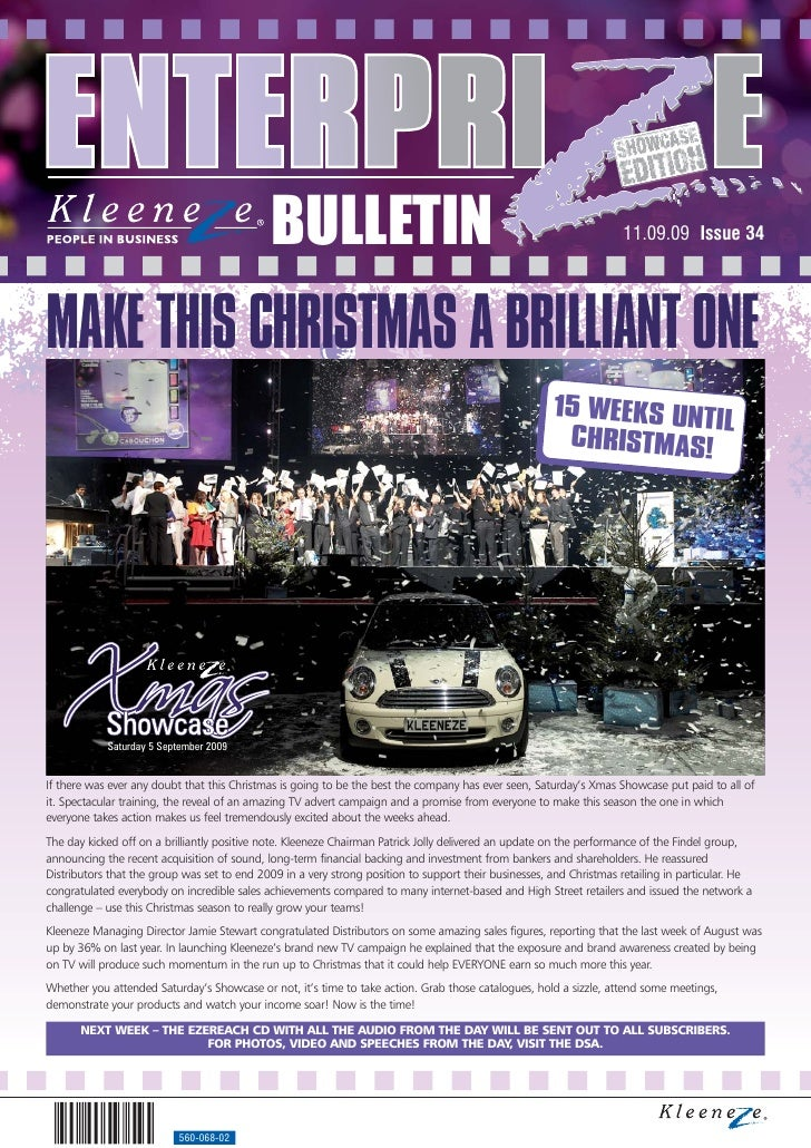 BULLETIN                                                                11.09.09 Issue 34     MAKE THIS CHRISTMAS A BRILLI...