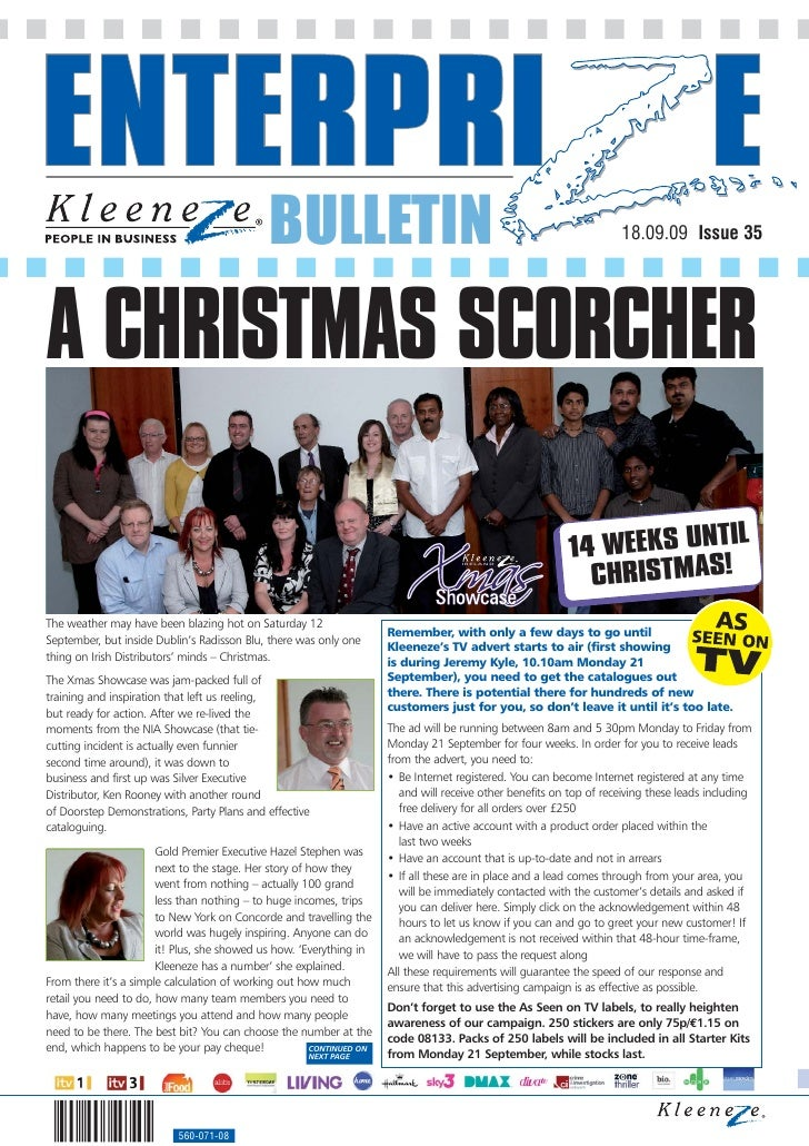 BULLETIN                                                                 18.09.09 Issue 35     A CHRISTMAS SCORCHER       ...