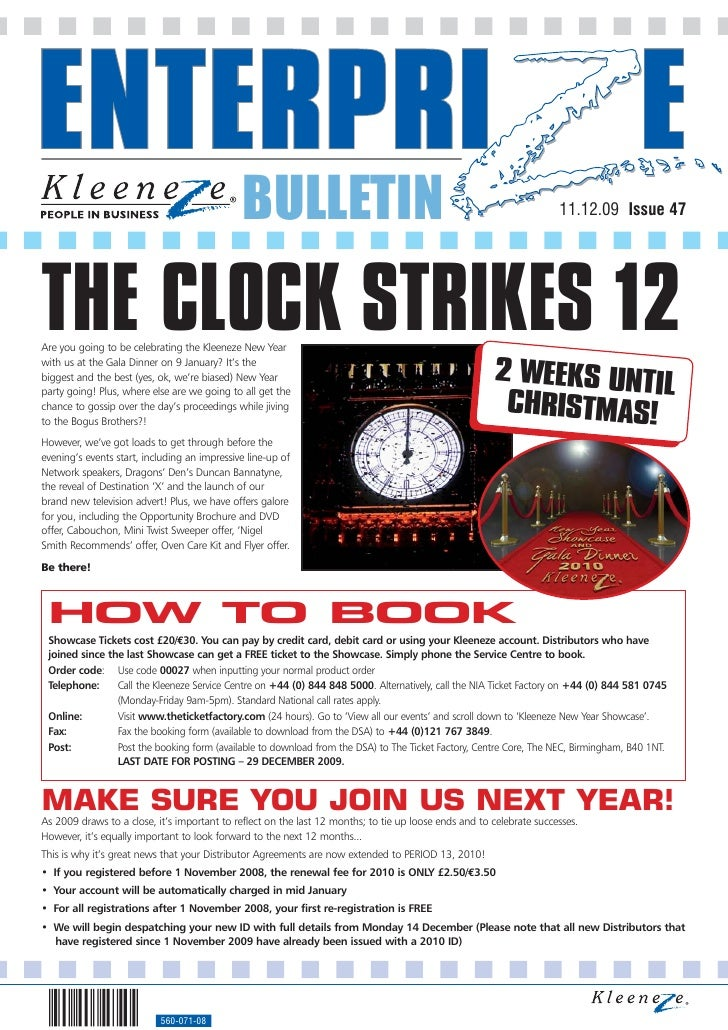 BULLETIN                                                                11.12.09 Issue 47     THE CLOCK STRIKES 12 Are you...