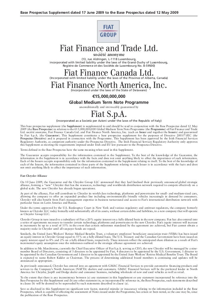 Base Prospectus Supplement dated 17 June 2009 to the Base Prospectus dated 12 May 2009                                 Fia...