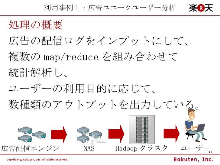 利用事例1:広告ユニークユーザー分析 処理の概要 広告の配信ログをインプットにして、 複数の map/reduce を組み合わせて 統計解析し、 ユーザーの利用目的に応じて、 数種類のアウトプットを出力している。 広告配信エンジン NAS Ha...