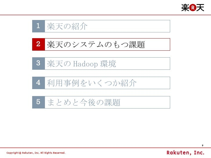 3 楽天の Hadoop 環境 4 利用事例をいくつか紹介 5 まとめと今後の課題 1 楽天の紹介 2 楽天のシステムのもつ課題
