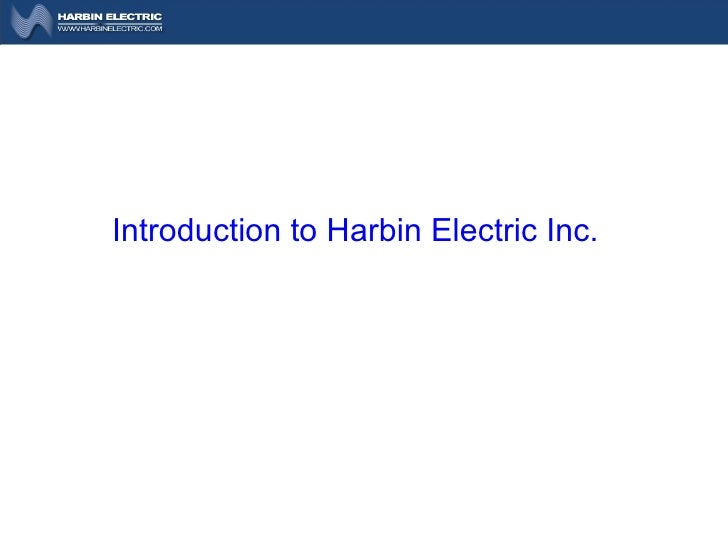 Introduction to Harbin Electric Inc.