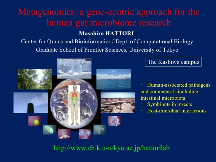 Metagenomics: a gene-centric approach for the human gut microbiome research Masahira HATTORI  Center for Omics and Bioinfo...