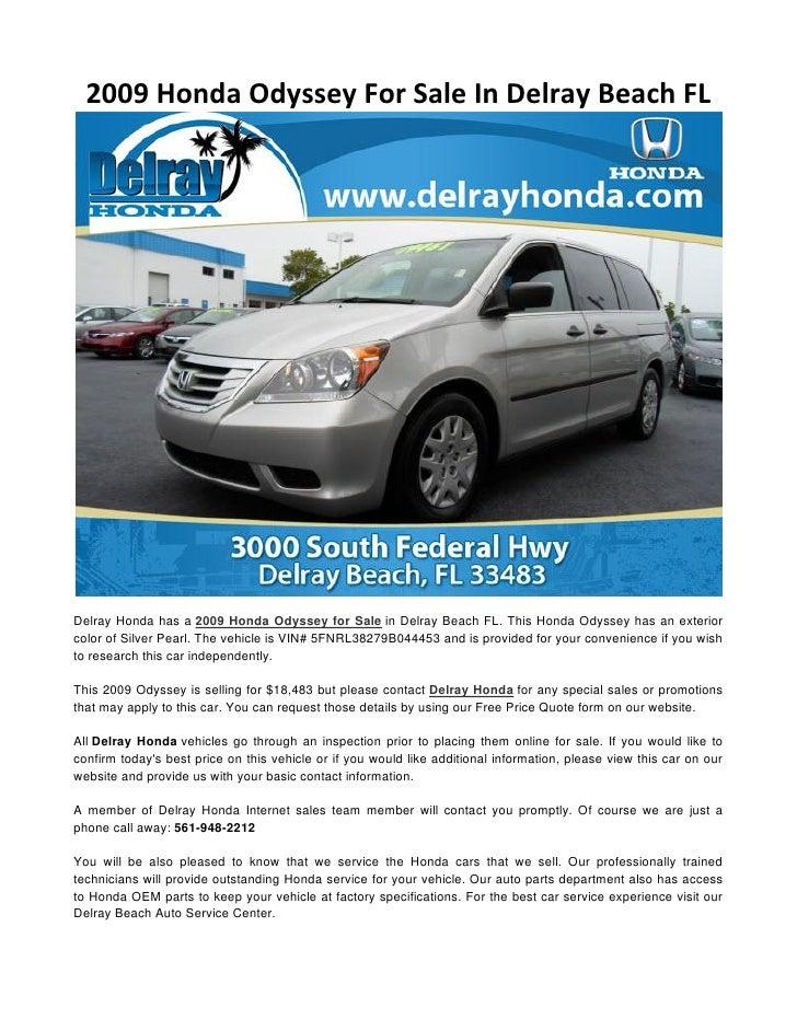 2009 Honda Odyssey For Sale In Delray Beach Fl