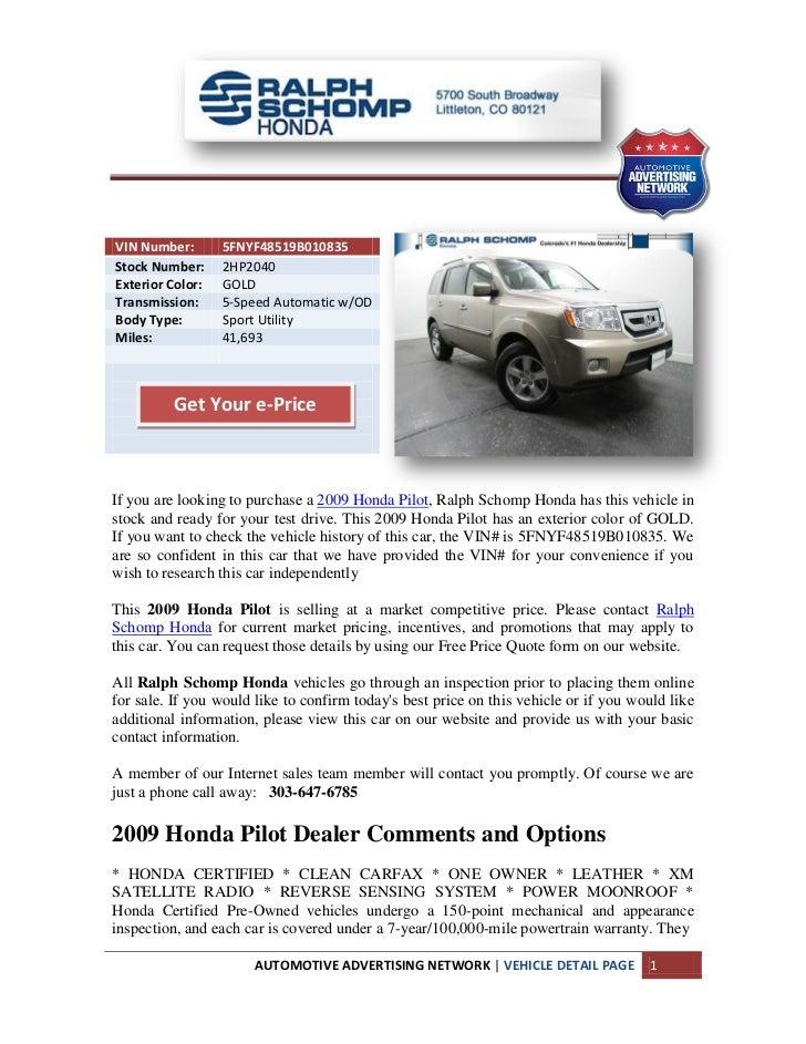Ralph Schomp Honda >> 2009 Honda Pilot Denver