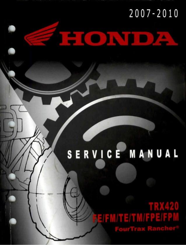 2009 Honda Trx420 Fe Rancher Service Repair Manual