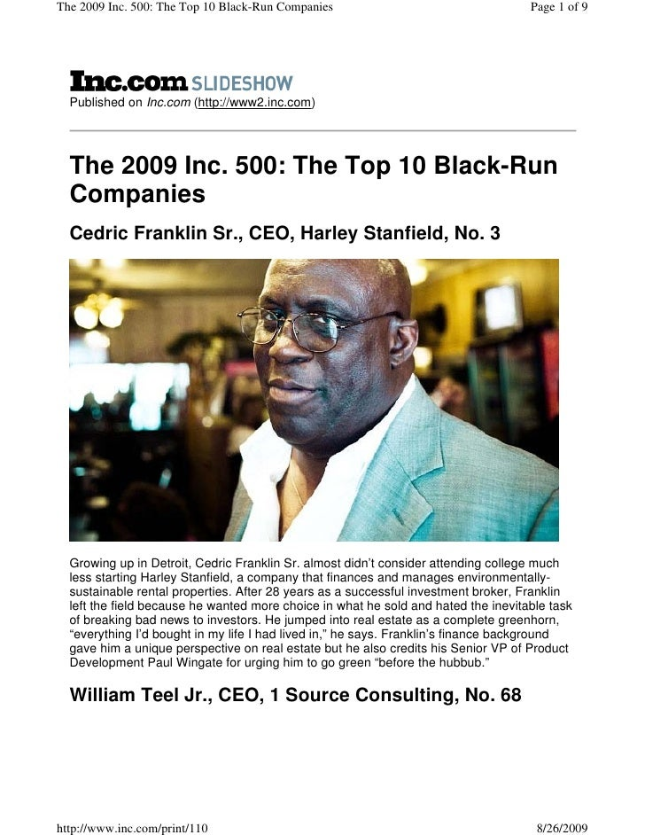 The 2009 Inc. 500: The Top 10 Black-Run Companies                                   Page 1 of 9       Published on Inc.com...