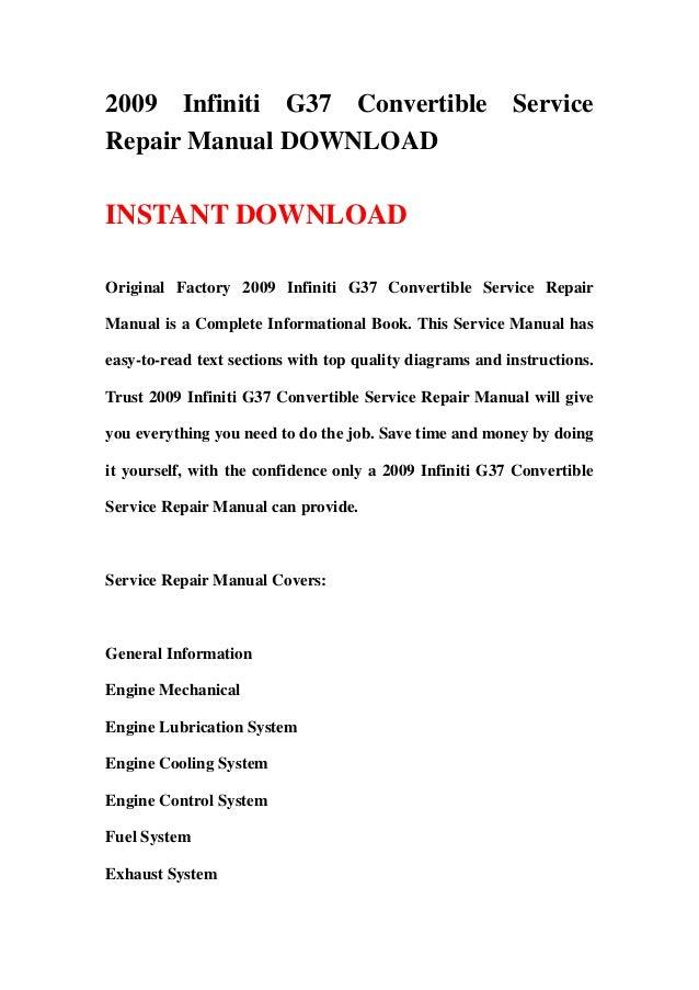 2009 Infiniti G37 Convertible Service Repair Manual Download