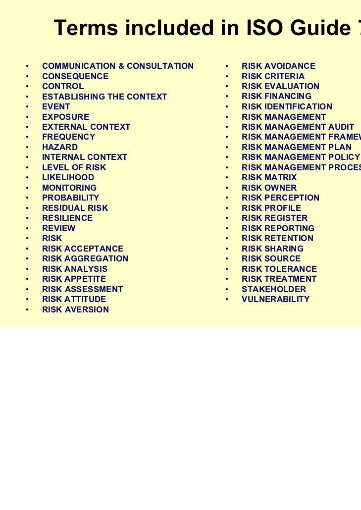 2009 irmcaug iso31000 rh slideshare net iso guide 73 vocabulary iso guide 73 rpn