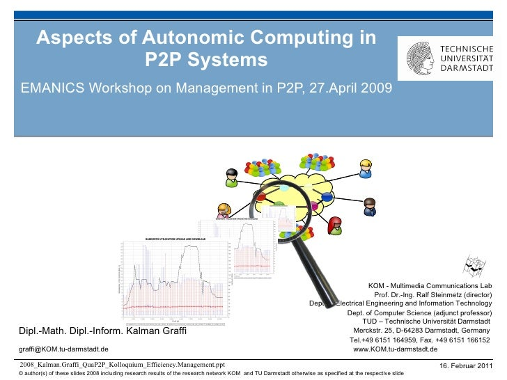 Aspects of Autonomic Computing in P2P Systems EMANICS Workshop on Management in P2P, 27.April 2009