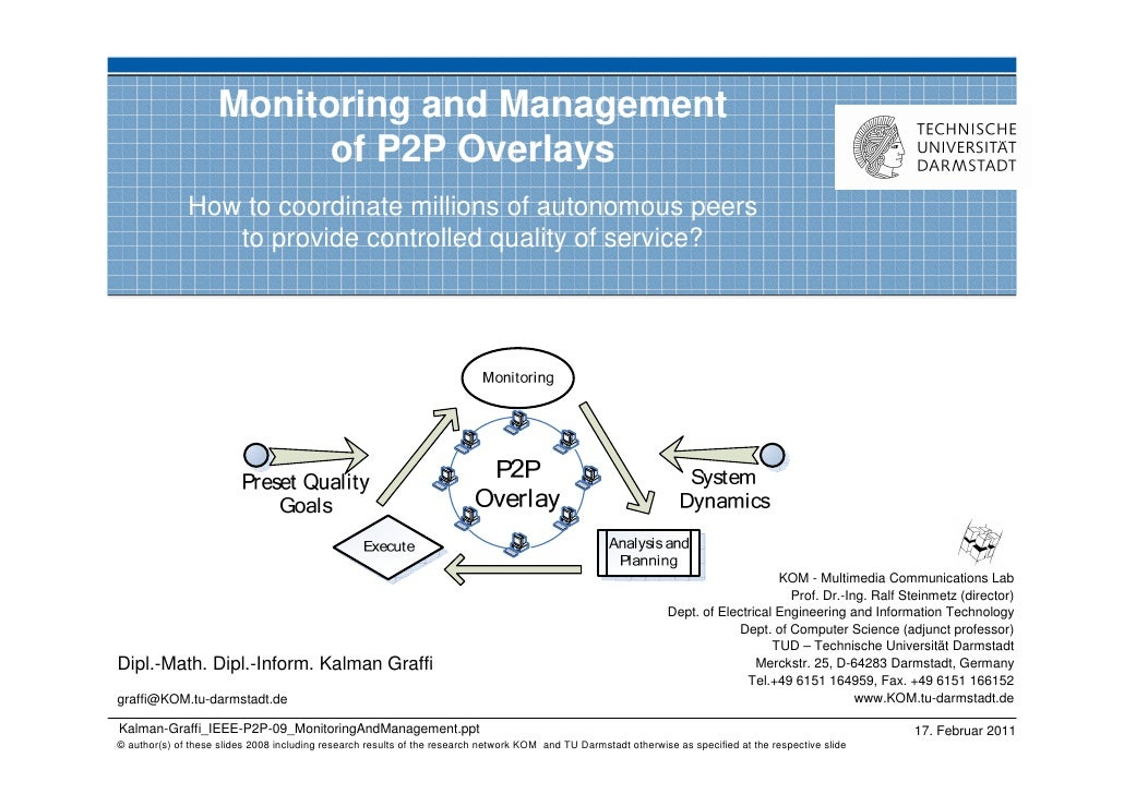 Monitoring and Management                          of P2P Overlays              How to coordinate millions of autonomous p...