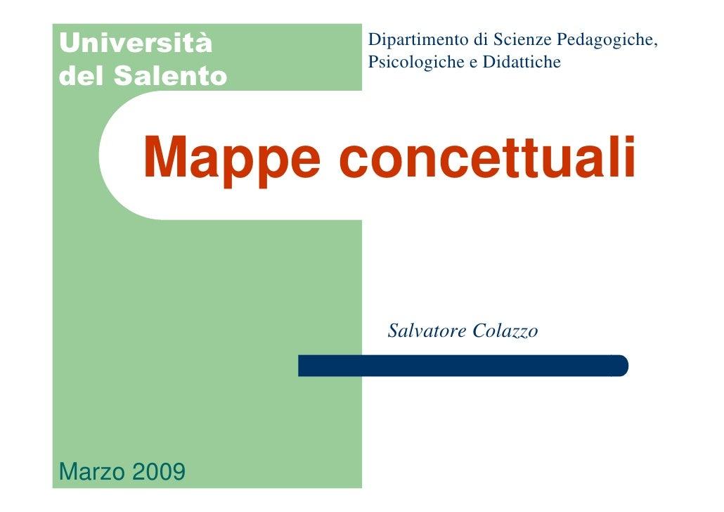 Dipartimento di Scienze Pedagogiche, Università               Psicologiche e Didattiche del Salento         Mappe concettu...