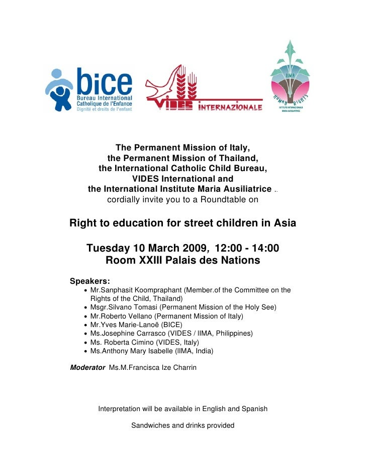 The Permanent Mission of Italy,           the Permanent Mission of Thailand,        the International Catholic Child Burea...