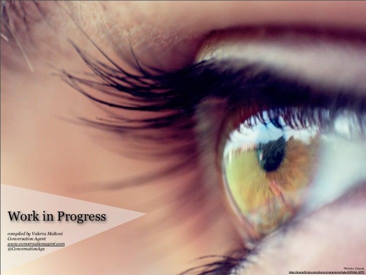 Work in Progress compiled by Valeria Maltoni Conversation Agent www.conversationagent.com @ConversationAge                ...
