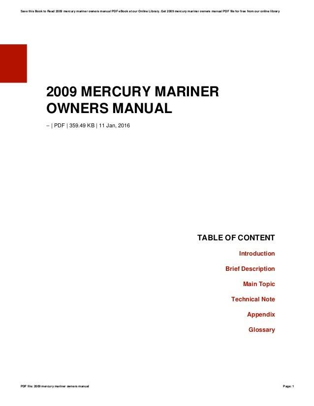 2009 mercury mariner owners manual rh slideshare net mercury marine owners manual mercury mariner service manual pdf