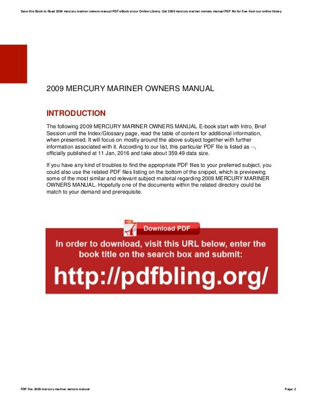 2009 mercury mariner owners manual rh slideshare net honda marine owners manual suzuki marine owners manual pdf
