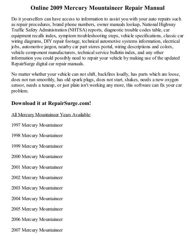 2009 mercury mountaineer repair manual online rh slideshare net 2004 Mercury Mountaineer Black 2002 Mercury Mountaineer Repair Manual