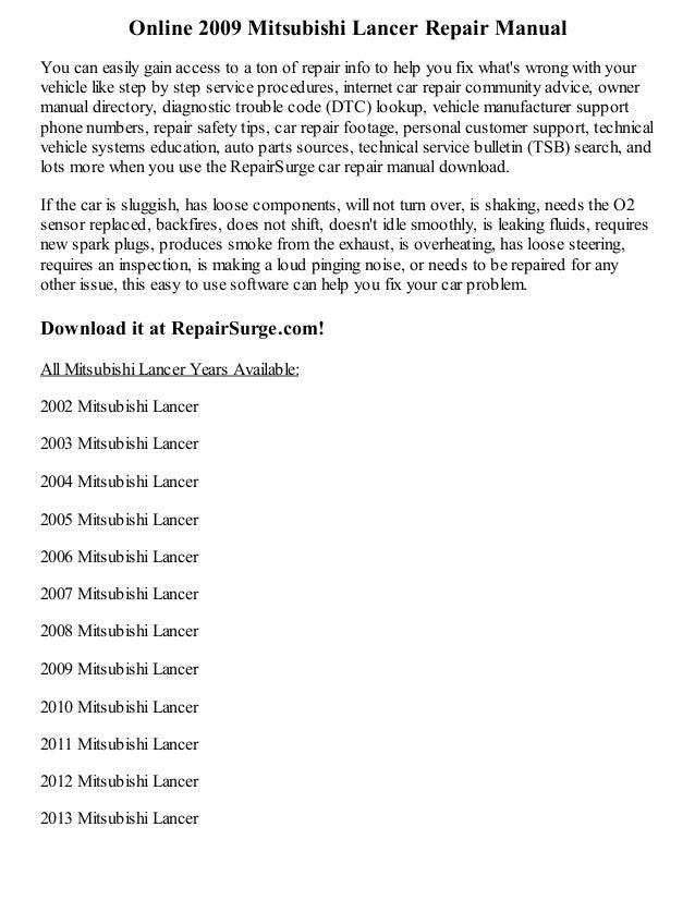 2009 mitsubishi lancer repair manual online rh slideshare net 2009 Mitsubishi Lancer GTS 2009 Mitsubishi Lancer Ralliart Sedan