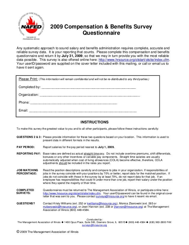 2009 nafed compensation benefits survey questionnaire – Salary Survey Questionnaire