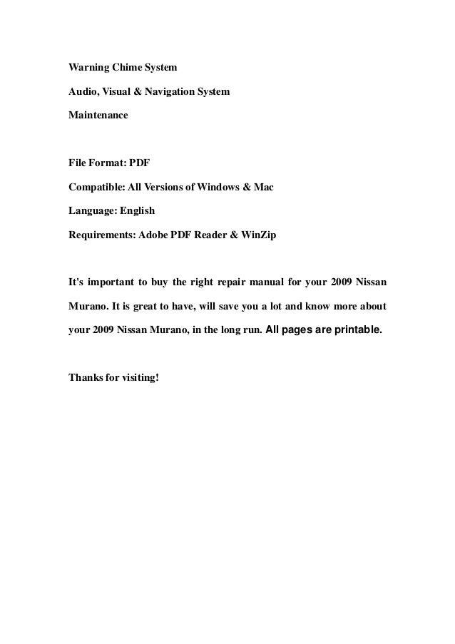2009 nissan murano service repair manual download rh slideshare net 2009 nissan murano service manual 2009 murano owners manual